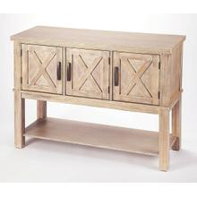 See Details - Bring a bit of countryside into you entertaining with this storage buffet. Crafted in Acacia wood and Natural Birch veneers; the exterior door panels are enhanced by the updated X design. Offering you both storage and function in one beautiful addition to your room. The bottom shelf is yours to fill with those special pieces to share with all to view.