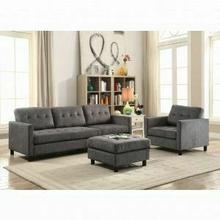 ACME Ceasar Sectional Sofa (Rev. Ottoman) - 53315 - Gray Fabric