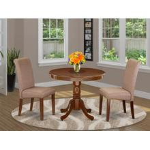 3Pc Small Round table with linen brown fabric Parson chairs with mahogany chair legs