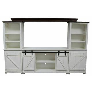 See Details - Antique White W/ Dark Brown Top 4 PC Wall Unit