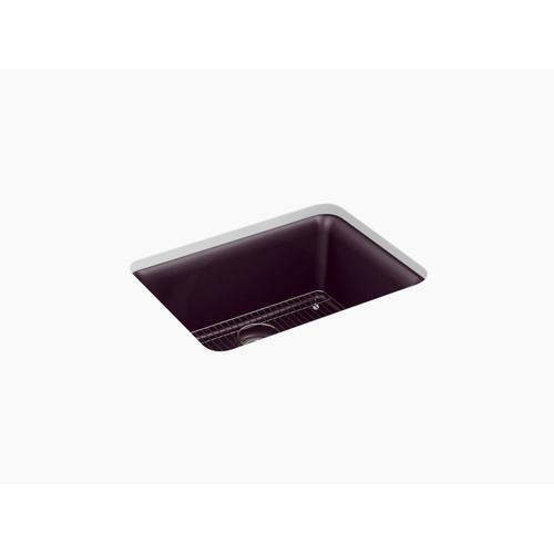 """Matte Black Plum 24-1/2"""" X 18-5/16"""" X 9-1/2"""" Neoroc Undermount Single-bowl Kitchen Sink With Rack"""