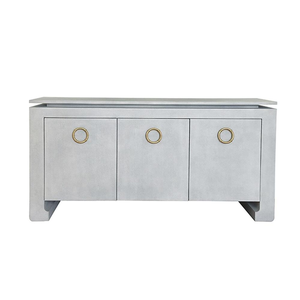 Three Door Buffet In Light Grey Faux Shagreen With Two Screw Antique Brass Hardware