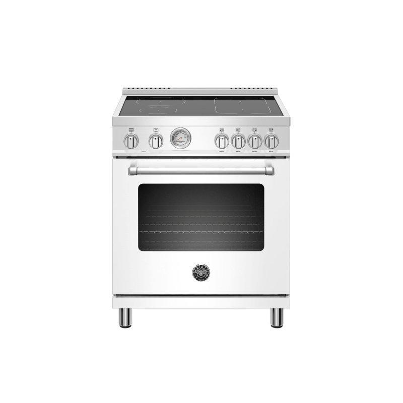 30 inch Induction Range, 4 Heating Zones, Electric Oven Bianco Matt