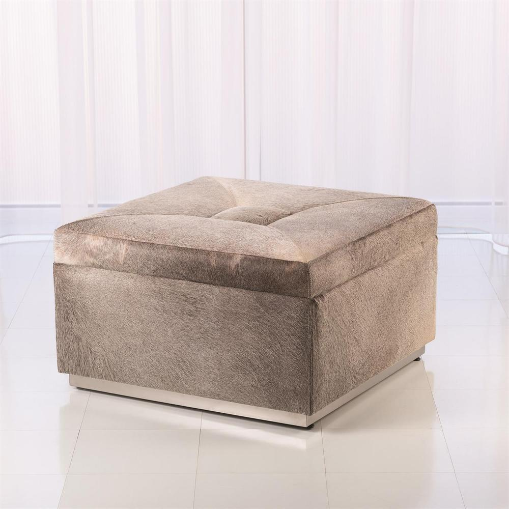 See Details - Metro Square Storage Ottoman-Grey Hair-on-Hide