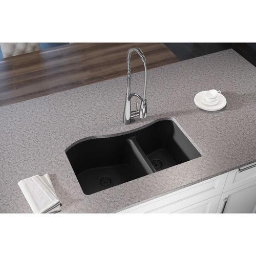 "Elkay Quartz Luxe 32-1/2"" x 20"" x 10"", 60/40 Double Bowl Undermount Sink, Caviar"