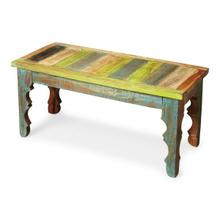 Product Image - Crafted from recycled wood solids, this Bench is an irresistible combinatinon of rustic charm, dramatically carved legs and colorful hand painting, ensuring this piece stands out as a one-of-a-kind original.