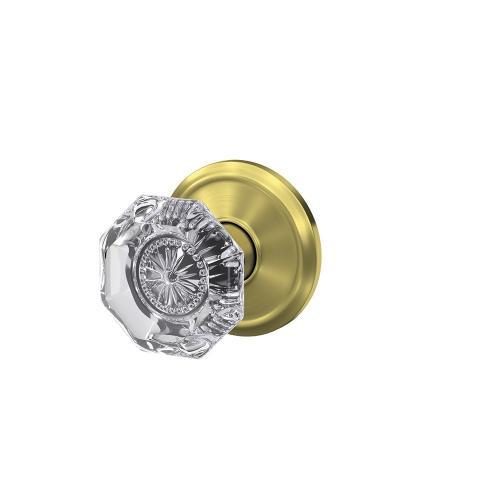 Custom Alexandria Non-Turning Glass Knob with Alden Trim - Satin Brass