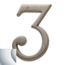Polished Chrome House Number - 3