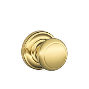 Andover Knob with Andover trim Hall & Closet Lock - Bright Brass Product Image