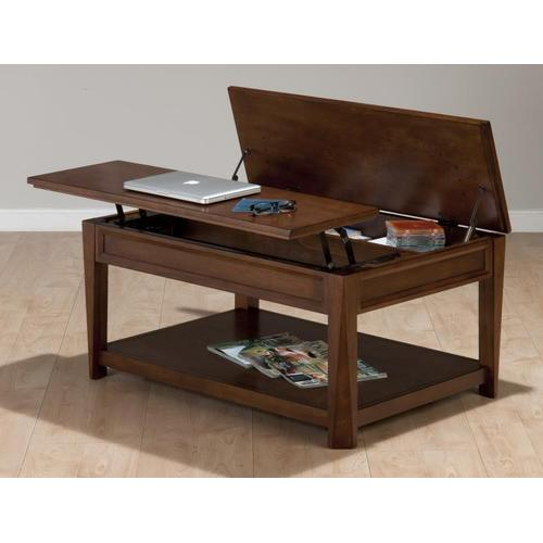 Jofran - Lift-top Cocktail Table W/ Hidden Storage, Shelf and Casters