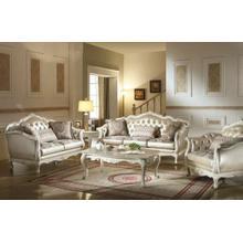 ACME Chantelle Sofa w/3 Pillows - 53540 - Rose Gold PU/Fabric & Pearl White