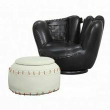 ACME All Star 2Pc Pack Chair & Ottoman - 05522 - Baseball: Black Glove Chair - White Ottoman