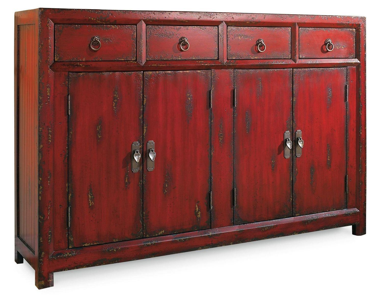Hooker FurnitureLiving Room 58'' Red Asian Cabinet
