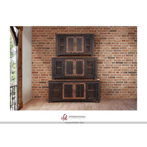 """70"""" Pueblo TV Stand w/ 4 doors & Shelves Black"""