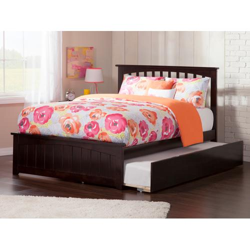 Mission Full Bed with Matching Foot Board with Urban Trundle Bed in Espresso