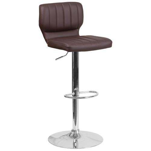 Alamont Furniture - Contemporary Brown Vinyl Adjustable Height Barstool with Chrome Base