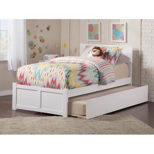 Atlantic Furniture - Orlando Twin Flat Panel Foot Board with Urban Trundle White