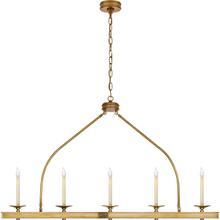 View Product - E. F. Chapman Launceton 5 Light 52 inch Antique-Burnished Brass Linear Pendant Ceiling Light, Large