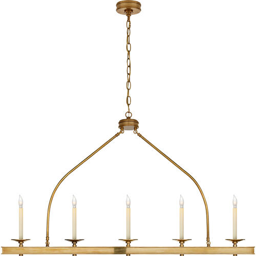 Visual Comfort - E. F. Chapman Launceton 5 Light 52 inch Antique-Burnished Brass Linear Pendant Ceiling Light, Large