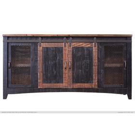 Pueblo TV-Stand w/2 Doors, 2 Mesh Doors Black