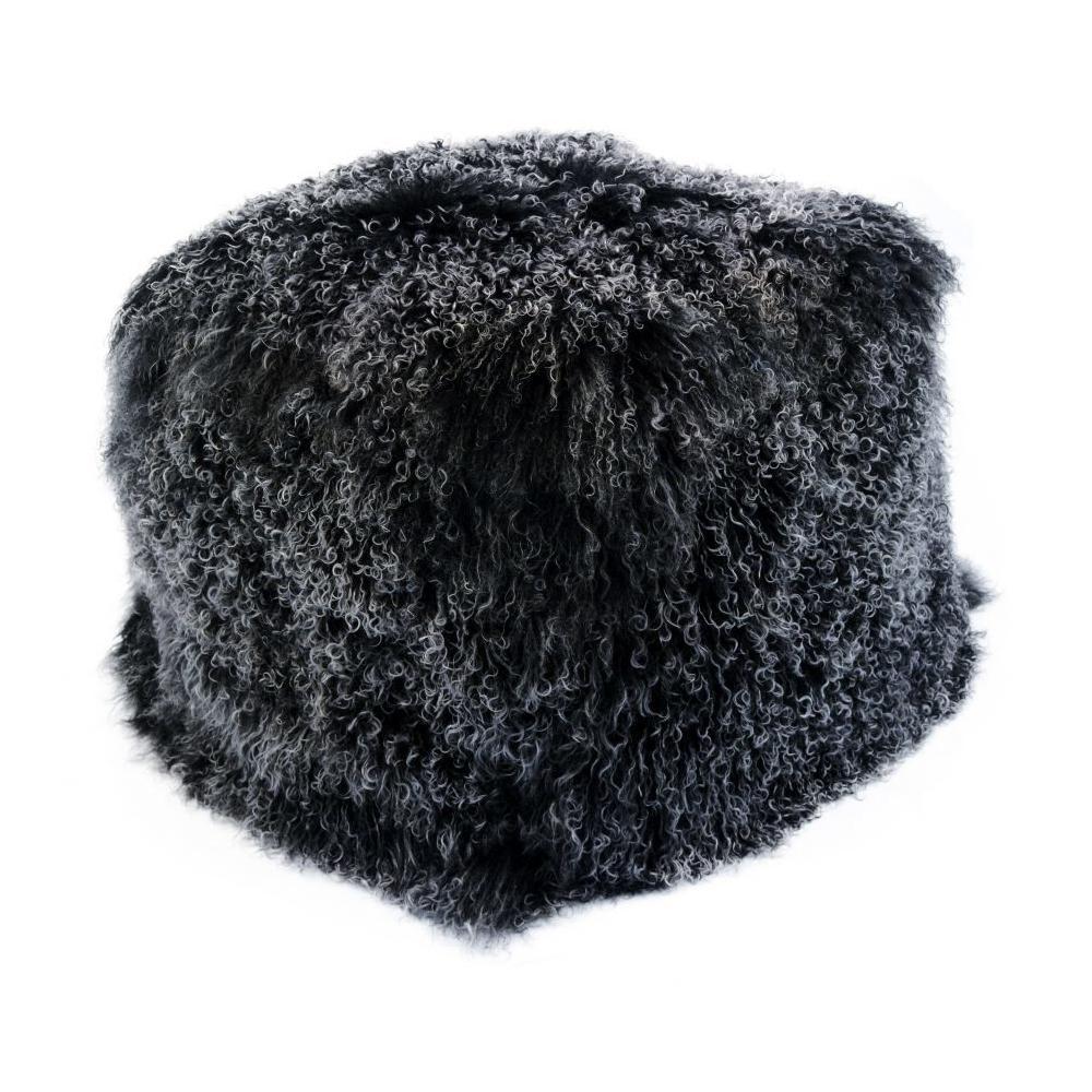 See Details - Lamb Fur Pouf Black Snow
