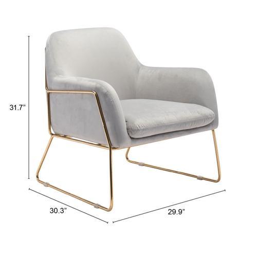 Zuo Modern - Nadir Arm Chair Gray & Gold