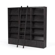 Triple Bookshelf W/ Ladder Configuration Dark Charcoal Finish Bane Bookshelf