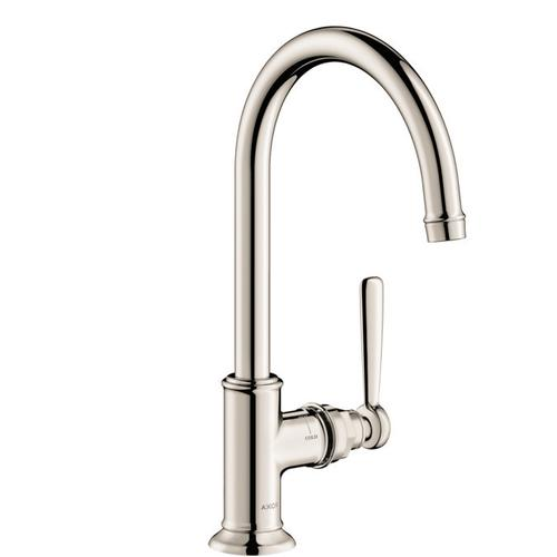 Polished Nickel Single lever basin mixer 210 with lever handle and waste set