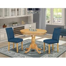 3Pc Rounded 36 Inch Dinette Table And Two Parson Chair With Oak Leg And Pu Leather Color Oasis