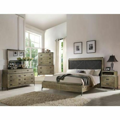 ACME Athouman Queen Bed (Panel) - 23910Q - PU & Weathered Oak