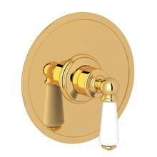 Edwardian Pressure Balance Trim without Diverter - English Gold with Metal Lever Handle