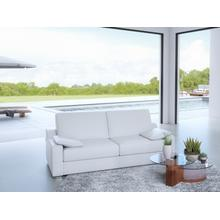 The Landmark Queen Size Sofa Bed In White Top Grain Leather With Chromed Feet