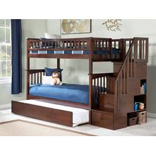 View Product - Columbia Staircase Bunk Bed Twin over Twin with Urban Trundle Bed in Walnut