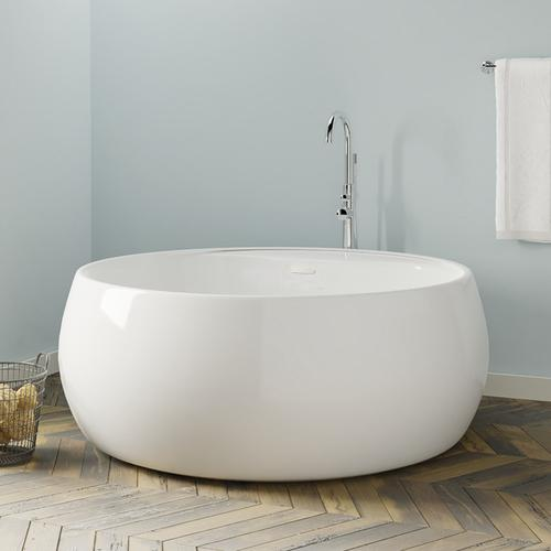 """Yarborough 61"""" Round Acrylic Tub with Integral Drain and Overflow - Oil Rubbed Bronze Drain and Overflow"""