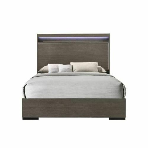 ACME Escher Queen Bed - 27650Q - Contemporary - LED, Melamine Veneer, MDF, PB - LED and Gray Oak