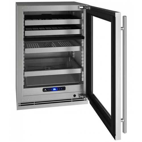 """U-Line - Hbd524 24"""" Dual-zone Beverage Center With Stainless Frame Finish and Field Reversible Door Swing (115 V/60 Hz Volts /60 Hz Hz)"""