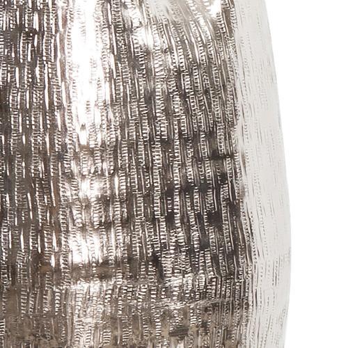 Howard Elliott - Textured Bright Silver Aluminum Pinched Top Vase, Large