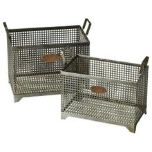 View Product - Sitting comfortably in the vintage industrial zone (note the riveting bronze tags), these metal storage baskets are as fashionable as they are functional.