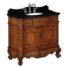 View Product - Belle Foret 36 in. W Single Basin Vanity with Black Granite Vanity Top in Medium Oak