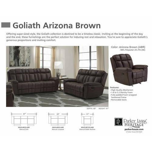 Parker House - GOLIATH - ARIZONA BROWN Manual Loveseat