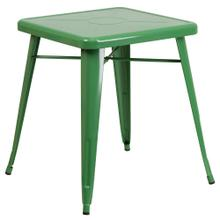 See Details - 23.75'' Square Green Metal Indoor-Outdoor Table