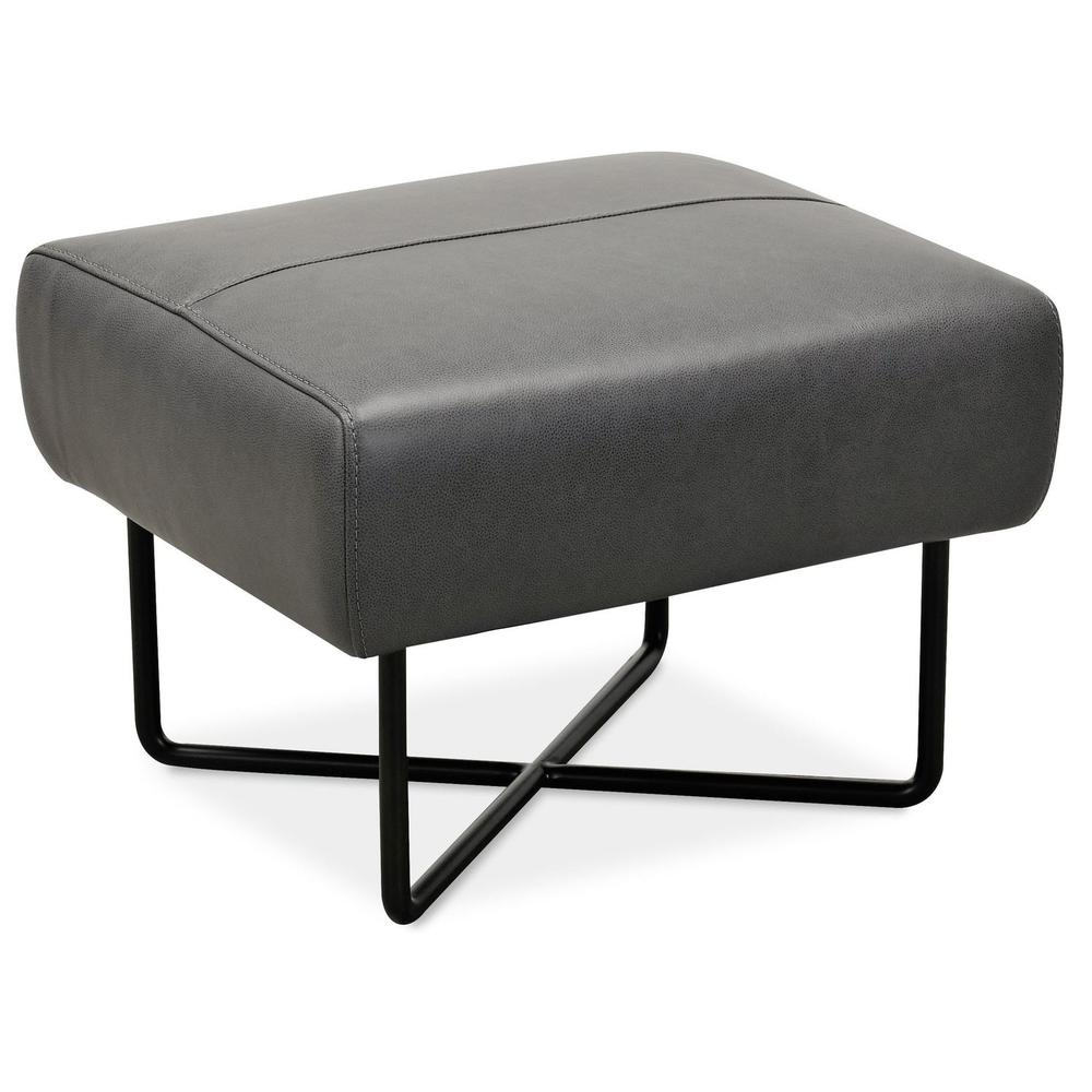 Living Room Efron Ottoman w/ Black Metal Base