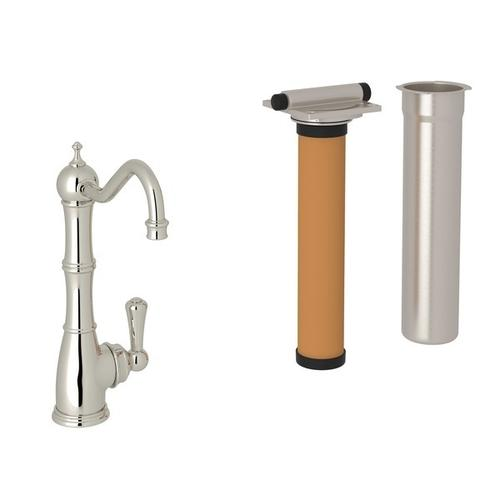 Polished Nickel Perrin & Rowe Edwardian Column Spout Filter Faucet with Metal Lever