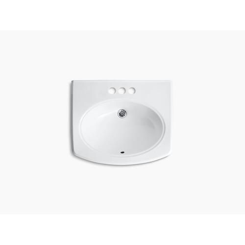 """Almond Wall-mount Bathroom Sink With 4"""" Centerset Faucet Holes"""