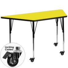 Mobile 25''W x 45''L Trapezoid Yellow HP Laminate Activity Table - Standard Height Adjustable Legs