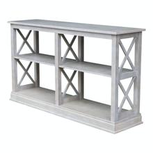 View Product - Hampton Long Sofa Table in Taupe Gray