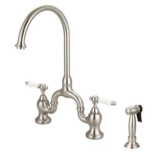 Banner Kitchen Bridge Faucet with Porcelain Lever Handles - Brushed Nickel Product Image