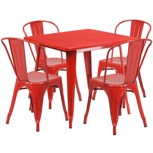 31.5'' Square Red Metal Indoor-Outdoor Table Set with 4 Stack Chairs