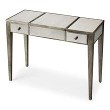 Trimmed in antique pewter and crafted from Birch Wood solids, this mirrored vanity is a beautiful touch of class in any space! The center lifts to reveal additional storage and a soft felt lining. The right and left drawers are a great place to tuck away personal items.