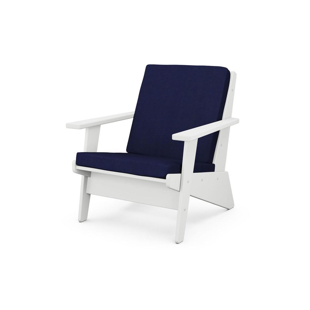 White & Navy Riviera Modern Lounge Chair